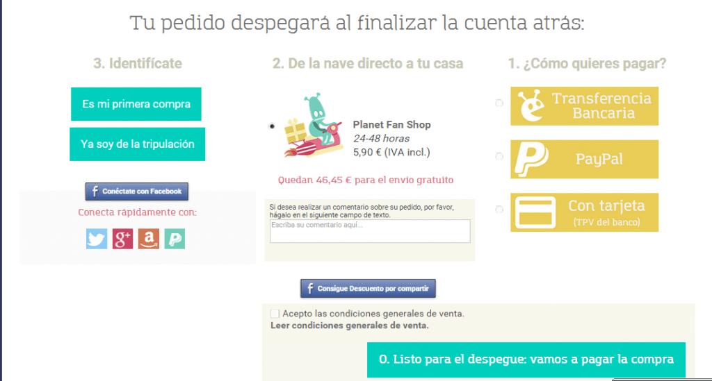 registro con social login en Prestashop página de pago