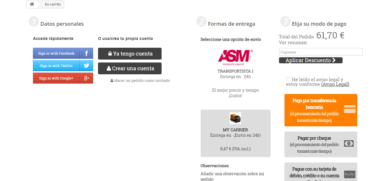 version easy checkout sin fondo